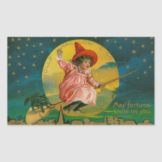Jolly Halloween Vintage Witch Rectangular Sticker