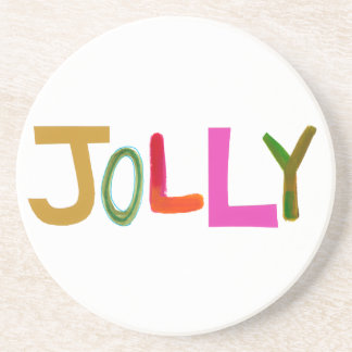 Jolly happy fun lively funny colourful word art beverage coasters