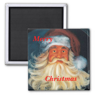 Jolly-Ole-Santa, Merry, Christmas magnet 2 Inch Square Magnet