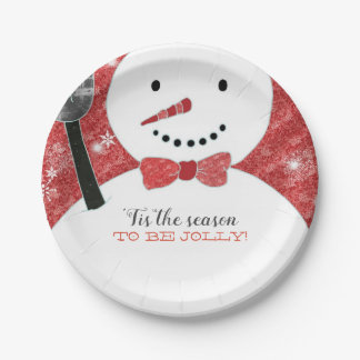 Jolly Red Bow Tie Snowman Holiday Paper Plate