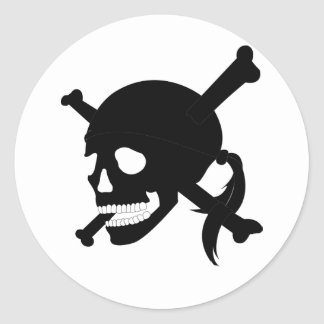 Jolly Roger #1-Black Round Sticker