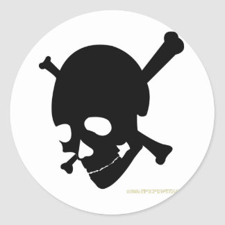 Jolly Roger #3-Black Round Sticker