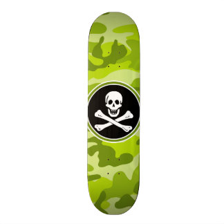 Jolly Roger; bright green camo, camouflage Skateboard Deck