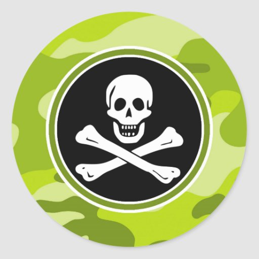 Jolly Roger; bright green camo, camouflage Round Stickers