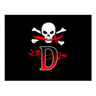 Jolly Roger D Monogram Initial Post Card
