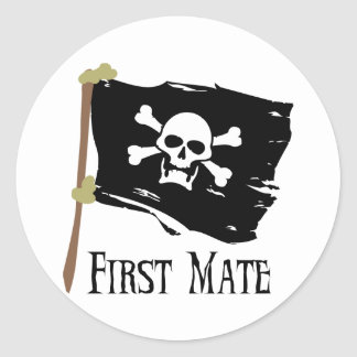 Jolly Roger First Mate Round Stickers