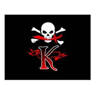 Jolly Roger K Monogram Initial Postcard