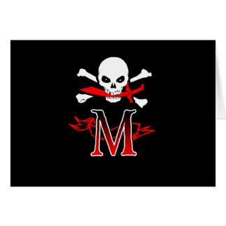 Jolly Roger M Monogram Initial Greeting Card