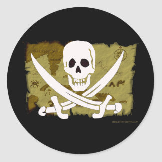 Jolly Roger Map #10 Round Sticker