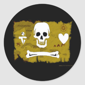 Jolly Roger Map #2 Round Sticker