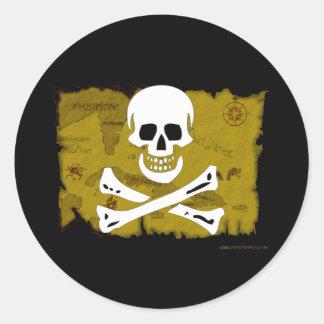 Jolly Roger Map #3 Round Sticker