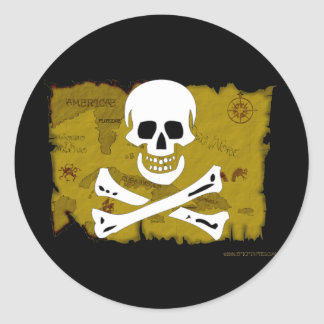 Jolly Roger Map #3 Round Stickers