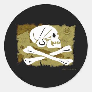 Jolly Roger Map #4 Round Sticker
