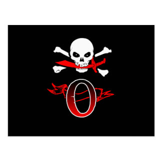 Jolly Roger O Monogram Initial Post Cards