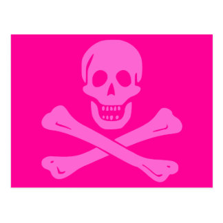 Jolly Roger Pink Postcard