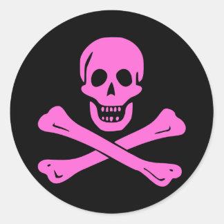 Jolly Roger Pink Round Sticker