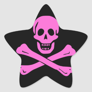 Jolly Roger Pink Star Stickers