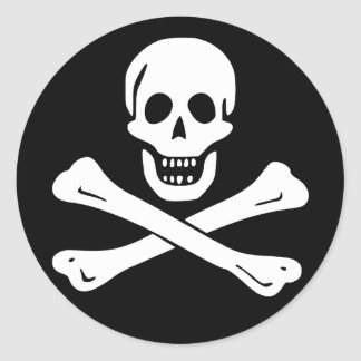 Jolly Roger Pirate Flag (pack of 6/20) Round Sticker
