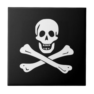 Jolly Roger Pirate Flag Small Square Tile
