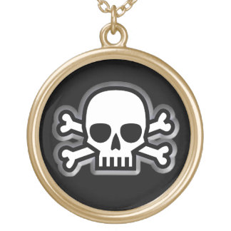 'Jolly Roger' Pirate Round Pendant Necklace