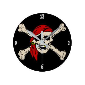 Jolly Roger Pirate Skull Bones Red Bandanna Clocks