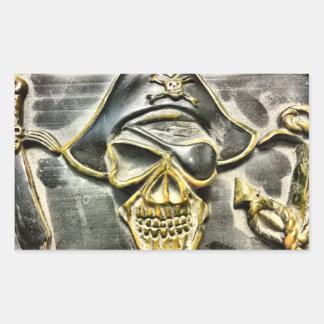 Jolly Roger Pirate Treasure Chest Rectangular Sticker