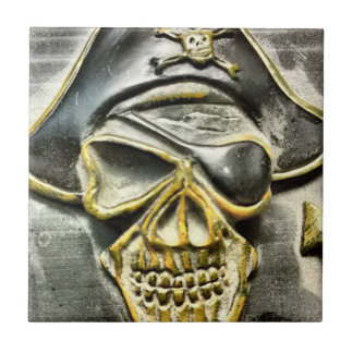 Jolly Roger Pirate Treasure Chest Small Square Tile