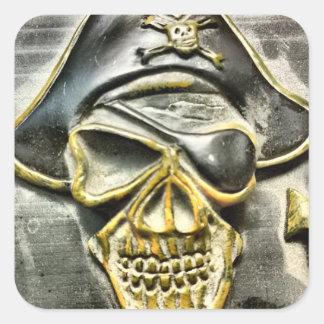 Jolly Roger Pirate Treasure Chest Square Sticker