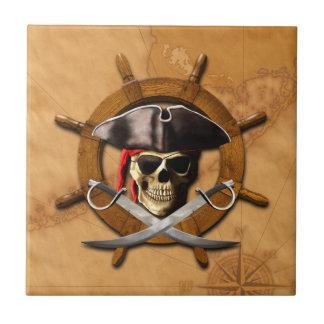 Jolly Roger Pirate Wheel Ceramic Tiles