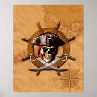 Jolly Roger Pirate Wheel Print