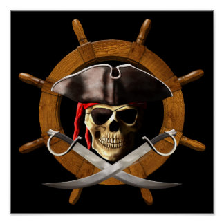 Jolly Roger Pirate Wheel Poster
