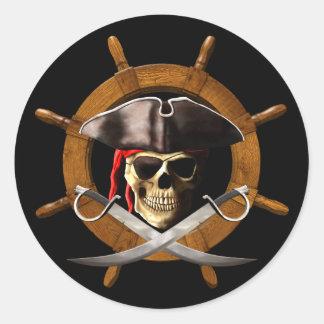 Jolly Roger Pirate Wheel Round Sticker