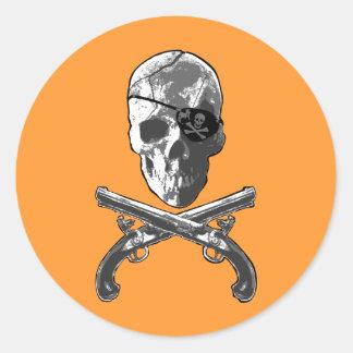 Jolly Roger Pistols Round Sticker