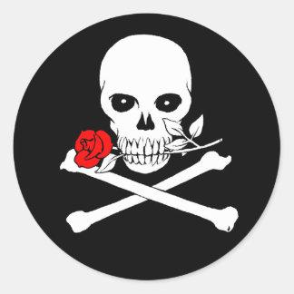 Jolly Roger (Rose)Sticker Round Sticker