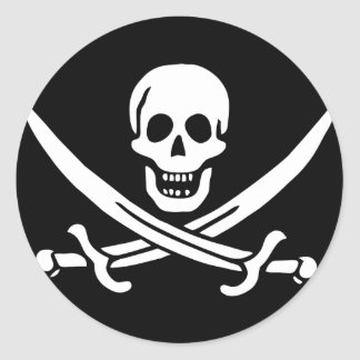 jolly roger round sticker