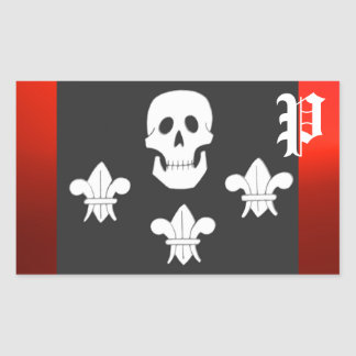 JOLLY ROGER SKULL AND THREE LILIES FLAG MONOGRAM RECTANGULAR STICKERS