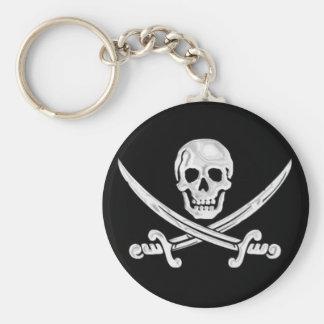 Jolly Roger Skull Basic Round Button Key Ring