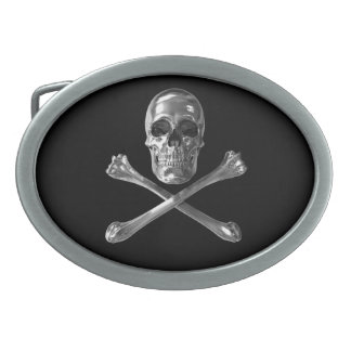 Jolly Roger Skull Oval Belt Buckle