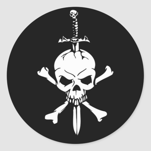 Jolly Roger Skull with Knife stickers