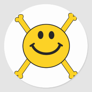 jolly roger smiley face round sticker