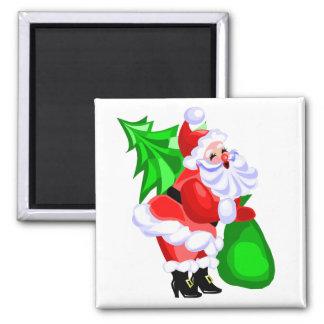 Jolly Santa and Christmas Tree Fridge Magnets