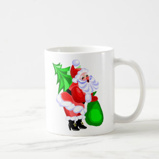 Jolly Santa and Christmas Tree Coffee Mug