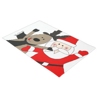 Jolly Santa and Reindeer #1 Doormat