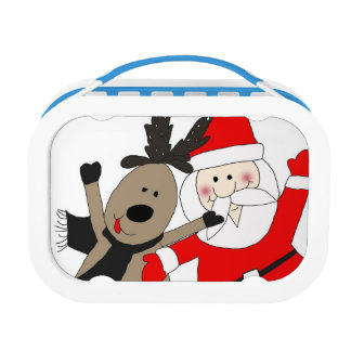 Jolly Santa and Reindeer #1 Lunch Box