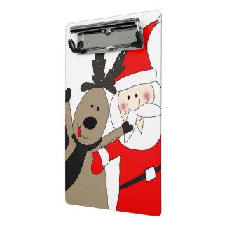 Jolly Santa and Reindeer #1 Mini Clipboard