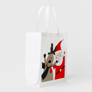 Jolly Santa and Reindeer #1 Reusable Grocery Bag