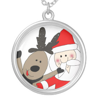 Jolly Santa and Reindeer #1 Silver Plated Necklace