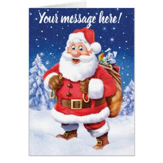 Jolly Santa and toy sack custom Christmas card