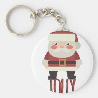 Jolly Santa Basic Round Button Key Ring