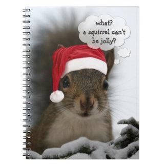 Jolly Santa Squirrel Christmas Fun Cute Notebooks